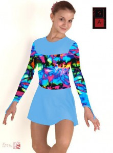 Купальник гимнастический с юбкой цветной